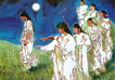 dance the night away, painting of native american girls dancing