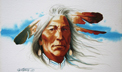 serious consideration painting, native american man